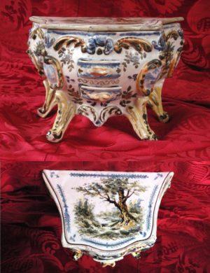 Cómoda Miniatura de cerámica Mustier, S. XVIII. Firmada.