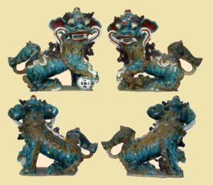 "Pareja Quimeras ""Leones de Foo"" Dinastía Ming. China, S. XVI"