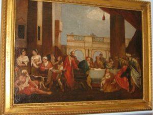 Santa Magdalena lavando los pies a Cristo.Escuela Italiana, S.XVIII