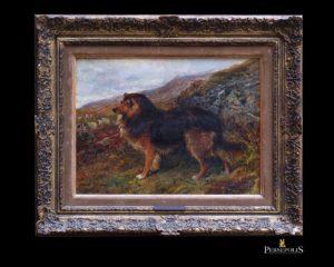 Óleo sobre tela: Perro con ovejas. John Sargent Noble, 1848 -1896