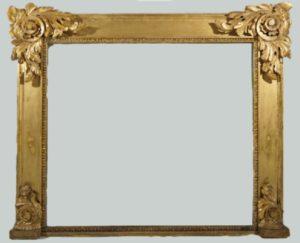 Espejo Georgiano de sobremesa talla oro fino. Tallas en las esquinas. S. XVIII