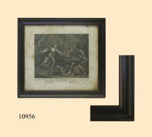 Grabado Italiano del S. XVIII, con marco abombado de caoba, S. XIX