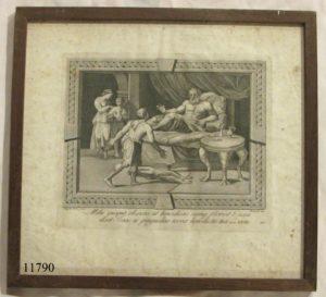 Grabado. Isaac echado sobre la cama, con nº 20 en la esquina inferior derecha, Bianchi, S. XVIII
