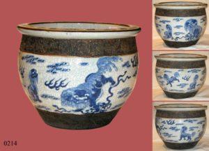 Pecera de cerámica. China, S. XVIII. Base restaurada