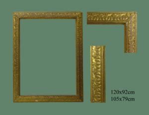 Marco tallado oro fino Italiano. S. XVII