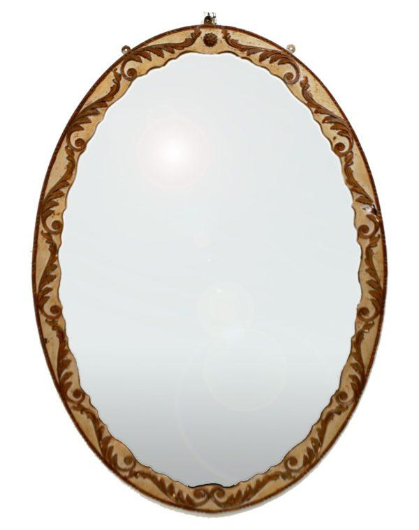 Espejo ovalado con aplicaciones. Escayola policromada. Italia, S. XIX