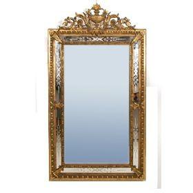 Espejo Veneciano con marco talla, dorado oro fino. Espejo grabado. S. XIX