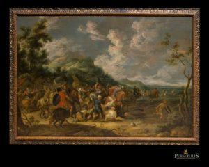 Óleo sobre tela: Batalla. Italia, S. XVIII.