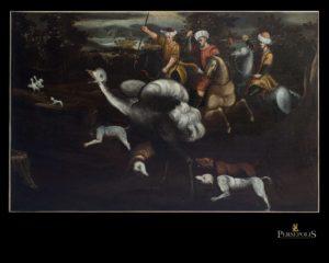 Óleo sobre tela: Cacería con perros, S. XVII