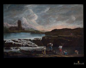Óleo sobre tela: Marina,Escuela Italiana.S. XVIII.