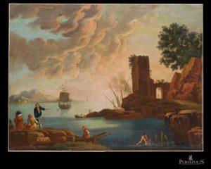 Paisaje Italiano de puerto. Escuela Italiana. S. XVIII