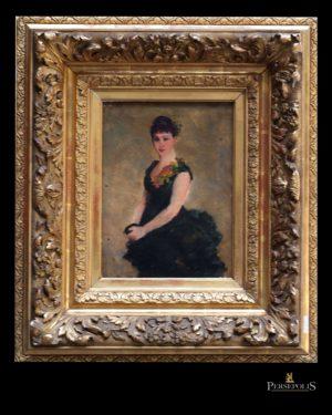 Óleo sobre tela: Retrato Señora. S. XIX