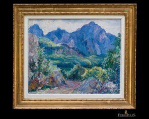 Paisaje con montañas al fondo. Else Von Schmiedeberg - Blume