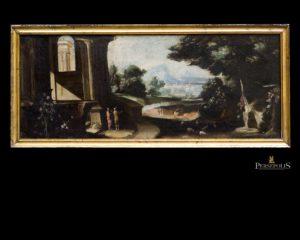 Ruina con personajes. Leonardo Coccorante. Italia. S. XVII