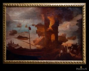 """Puerto con barcos y personajes a caballo. """"Pintor loco"""" Miquel Bestard, (1592-1633)"""