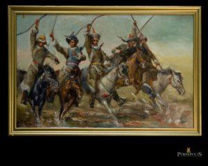 Óleo sobre tela: Guerreros mongoles. P. Wong