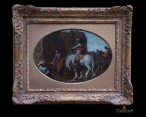 Hombre con turbante sobre caballo blanco.S. XVIII. Rosa de Tívoli, 1655 - 1705