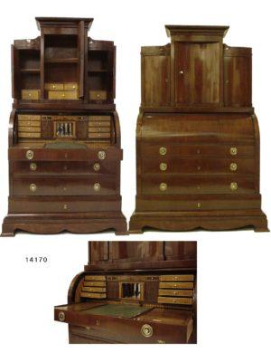 Buró Librería Biedermeier de caoba, tapa cilindro, interior marquetería arquitectónica y parte superior abombada. C.1800