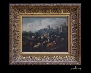Óleo sobre tela: Paisaje bucólico, con vacas y ovejas. Rosa de Tívoli.