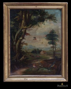 Óleo sobre cobre: Paisaje, árbol grande a la izquierda, al fondo casa y dos vacas. En primer plano pajaritos. S. XVIII