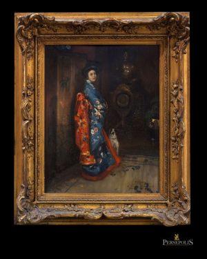 "Óleo sobre tabla: Representa ""Geisha"". Firmado P. Ribera, 1923. Con dedicatoria a Machard Yokahama. Pierre Ribera, 1867 - 1932"