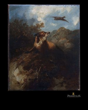 Óleo sobre tela: Lobo mirando un águila y montañas. Sin firma, en el dorso pone que es de George Stanfield.