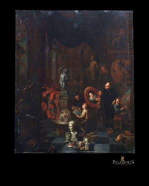 "Oleo sobre tela: ""The Academy of Arts"". Balthazar Van Den Bossche (1681 - 1715)"