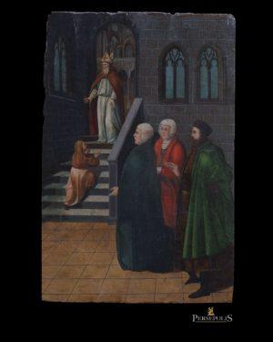Óleo sobre tabla: Tres Hombres con túnicas verde, roja y negra, delante de una escalera