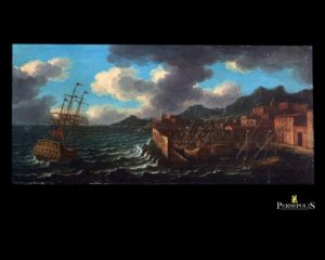 "Óleo sobre tela: ""A ship outside a Mediterranean harbour in choppy seas"". Escuela Flamenca. S. XVII"
