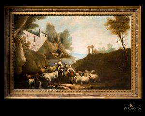 Óleo sobre tela: Escena bucólica, mujeres junto al lago con vacas, ovejas y árboles en primera línea. S. XVIII.