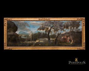 Óleo sobre tela: Huida de Egipto con paisaje de árboles. S. XVII - XVIII. Guillem Mesquida