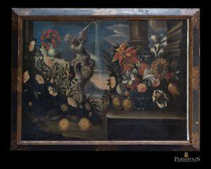 Óleo sobre tela: Bodegón, con fuente y cesto con flores. Mallorca, S. XVII