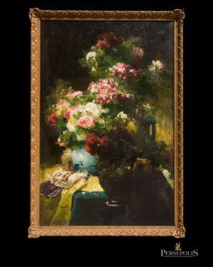 Óleo s/tela: Jarrón con flores y mascara. Georges Jeannin, 1867