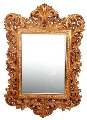 Marco de talla dorado con oro fino y con Espejo. S. XVIII