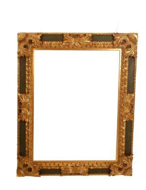 Pareja de Marcos Barrocos de talla dorada oro fino con fondo verde. S.XIX