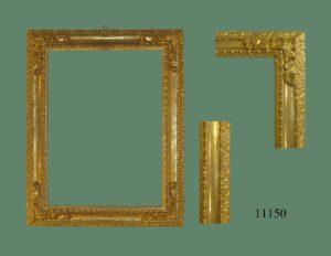 Marco de talla dorado con oro fino con tallas en las cuatro esquinas. Punteado. S. XVIII