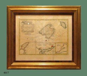 Grabado iluminado: Mallorca, Menorca e Ibiza. Mr. Bellin, 1756