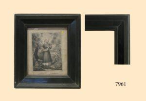 Grabado Santa Margarita . Marco negro S. XVIII