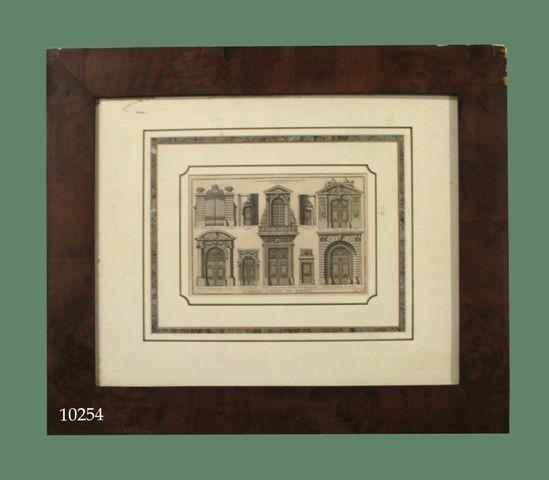 """Grabado arquitectónico: """"Diverses especes de portes"""". S. XVIII"""