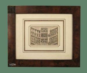 "Grabado arquitectónico: ""Rampes, appuis et balcons de Serrurerie"". Marco de caoba. S. XVIII."