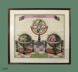 Grabado iluminado: Tres Globos Terráqueos delineados por Matthaus Seutter, S. XVIII.