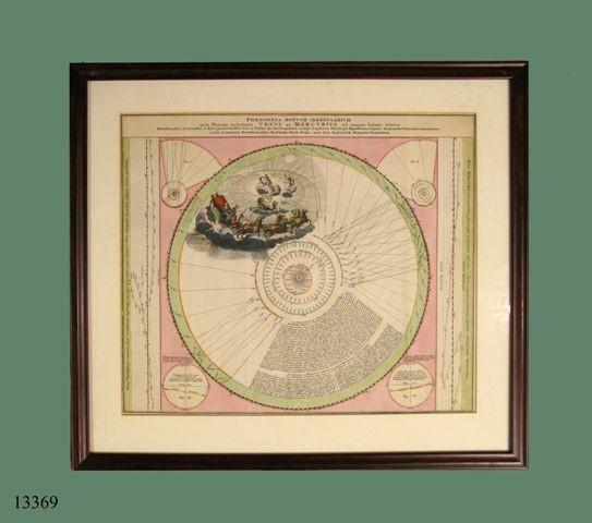 Grabado iluminado: Venus, Mercurio y galera con tres personajes tirada por seis caballos. S. XVIII