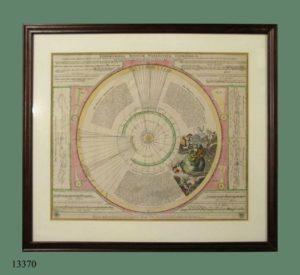 Grabado iluminado: Efemérides de los planetas inferiores y superiores. S. XVIII