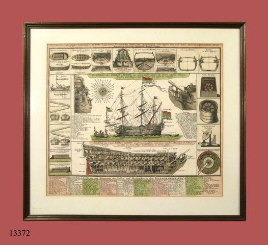 Grabado iluminado: Carabela en el centro y detalles de la misma alrededor. S. XVIII