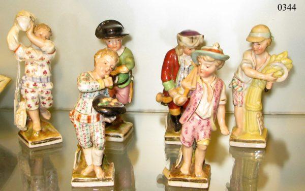 Seis figuras de porcelana Thüringer, Niños. Berlín. S. XIX