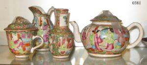 Juego de Té de cerámica Cantón. S. XIX