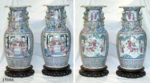 Pareja Jarrones Chinos de cerámica Cantón Famille Rose. S. XVIII
