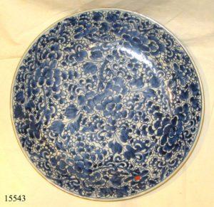 Plato de cerámica China blanca y azul, decorado con flores KANGXI, ffs China, S. XVII