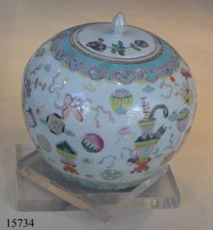 Tibor de cerámica, Famille Rose. China, C. 1730