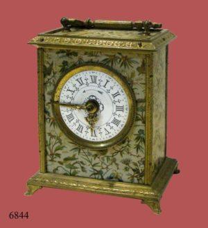 """Reloj Carruaje """" M. Fraisse Grand Prix de l'Horlogerie, 1878"""", con aplicaciones de bronce, despertador y números romanos"""